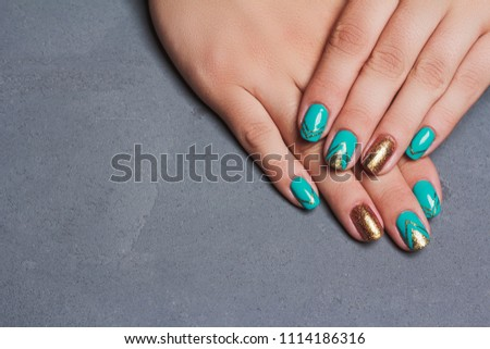 Nail Art Turquoise Gold Color Summer Stock Photo Edit Now
