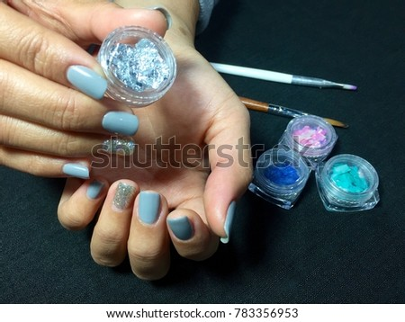 Nail Artist Grey Nail Art Manicure Stock Photo Edit Now 783356953