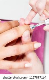 nail beauty process, polishing and painting