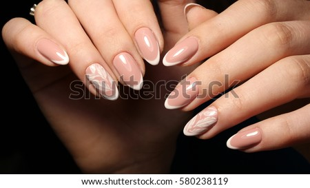 Nail Design French Manicure White Patterned Stock Photo Edit Now