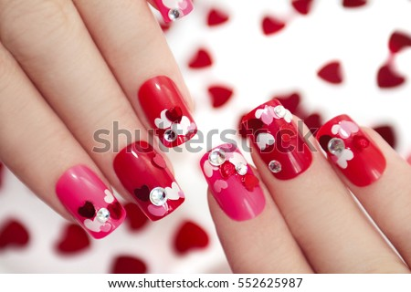 Nail Designs Different Sequins Shape Hearts Stock Photo Edit Now