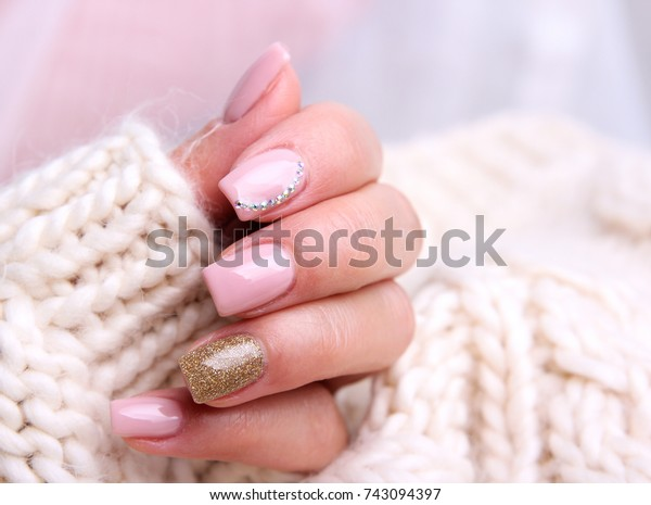 Nail Designwinter Soft Pink Color Manicure Stock Photo (Edit