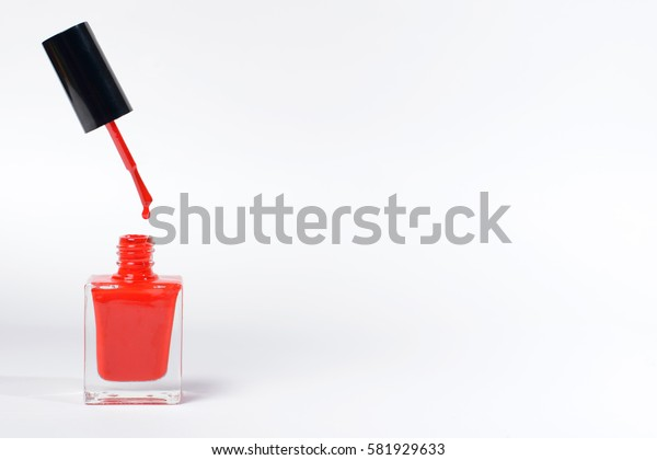 nail polish bottle on white background with space for your text