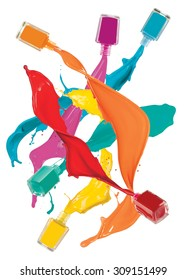 Nail polish bottle splash with bright colours