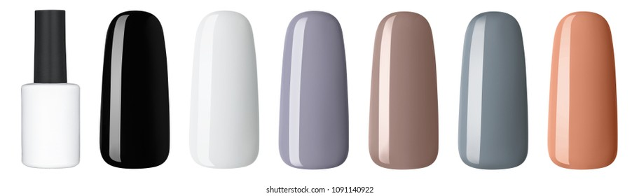 Nail polish in different fashion color. Colorful nail lacquer in tips and mock-up blank bottle isolated white background.