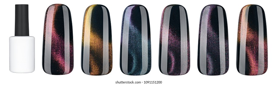 Nail polish in different fashion color. Colorful cats eye 3D nail lacquer in tips and mock-up blank bottle isolated white background.