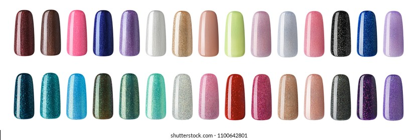 Nail polish in different fashion color. Colorful nail lacquer in tips  isolated white background.