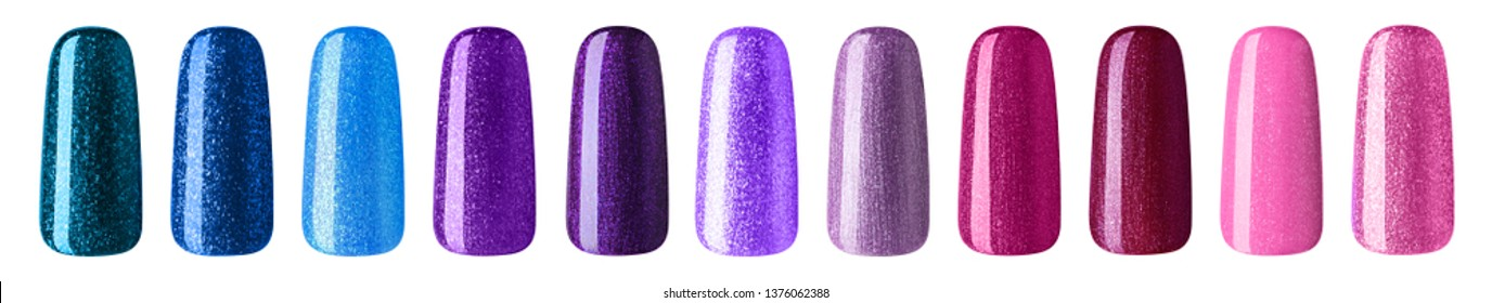 Nail polish with glitter in fashion multicolor pastel color. Colorful nail lacquer in tips isolated white background.