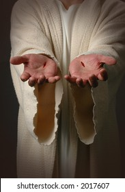 The Nail scared hands of Jesus