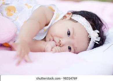 Nail shock in baby laying