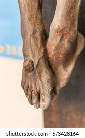 nailed feet, detail of sculpture of the Crucifixion of Jesus Christ