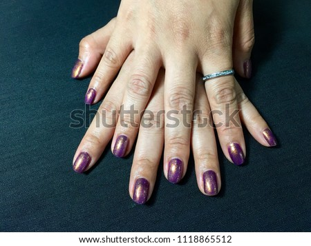 Nails Art Manicured Violet Nails Nail Stock Photo Edit Now