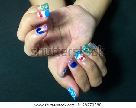 Nails Art Marine Nails Design Close Stock Photo Edit Now