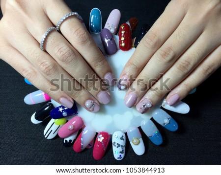 Nails Art Pastel Purple Nail Diamonds Stock Photo Edit Now