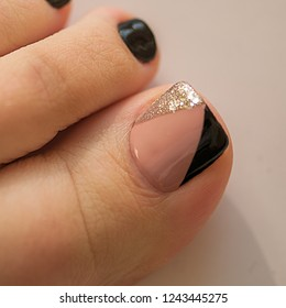 Nails art Pedicure Design Geometry Camouflage Black And Silver