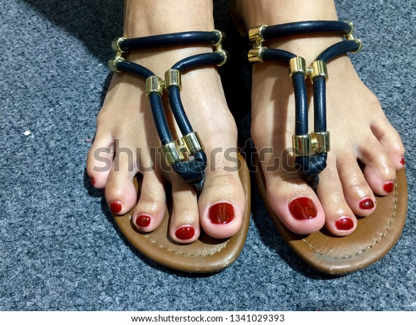 Nails Art Woman Pedicured Feet Flip Beauty Fashion Stock Image