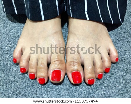 Nails Art Womans Feet Red Nail Stock Photo Edit Now 1153757494