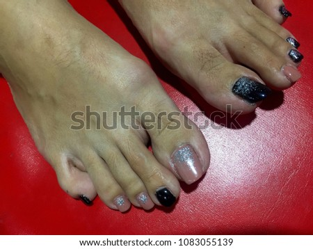Nails Art Womens Feet Nice Pink Stock Photo Edit Now 1083055139