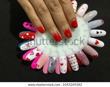 Nails Art Bright Red Manicure Gold Glitter Stock Photo Edit Now