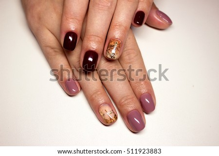 Nails Beautiful Combination Manicure Paris Design Stock Photo Edit