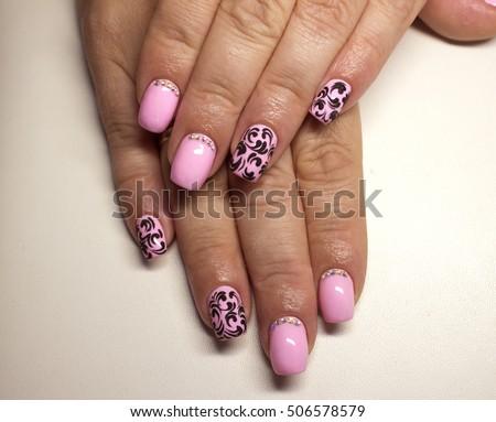Nails Beautiful Pink Nail Polish Matte Stock Photo Edit Now