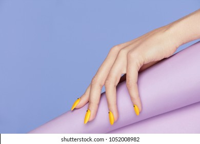 Purple And Yellow Nails Hd Stock Images Shutterstock