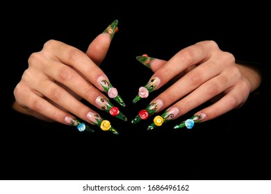 Nails Human fingers with long fingernail and beautiful manicure