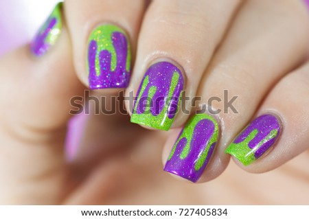 Nails Purple Green Dripping Design Stock Photo Edit Now 727405834