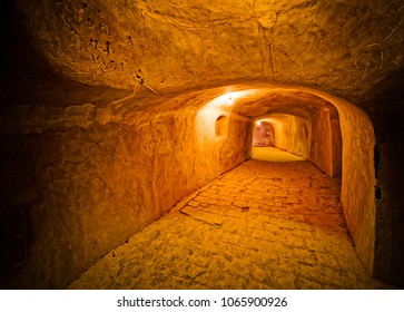 NAIN, IRAN - MAY 6, 2015: Underground passages to the hall for praying in the old Jame mosque basement in Iran.