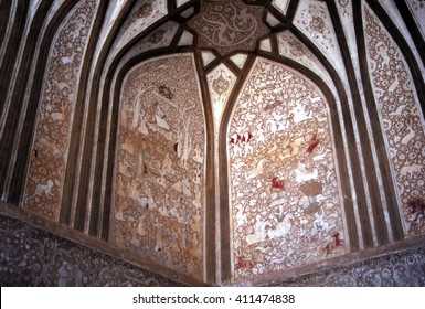 NA'IN, IRAN, SEP 20, 1998 - Vaulted ceiling, decoration, Governor's Palace, Na'in,Iran, Middle East