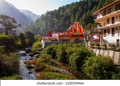 Nainital, India, October 19,2018: Kainchi Dham temple and ashram near Nainital with scenic landscape. A popular sacred destination for tourists at Uttarakhand India.
