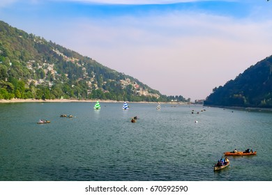 NAINITAL LAKE, UTTARAKHAND, INDIA-APRIL 2016: It is a natural freshwater body, formed by tectonic, situated amidst the township of Nainital India.