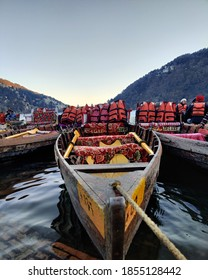 Nainital, Uttarakhand / India - 26/01/2020: Shikara waits for riders on Naini Lake.