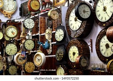 Nainital, Uttarakhand, India- October 09, 2017: An antique clock shop.