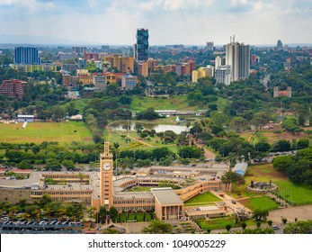 Nairobi city skyline, cityscape of Nairobi in Kenya in East Africa. Capital city in Africa with architecture and skyscrapers