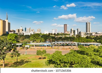 NAIROBI - DECEMBER 24: View of the skyline of Nairobi, Kenya with deep blue sky on December 24, 2015