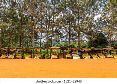Nairobi highway, Kenya – June 20th, 2019: Street photograph of typical large Kenyan market stalls found on-side of Nairobi hwy (A2).