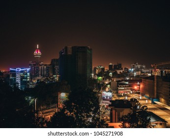 Nairobi / Kenya - 9/02/2018 : night cityscape of Nairobi