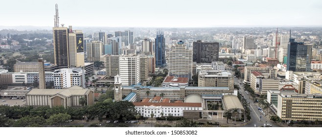 NAIROBI, KENYA - AUG 11: Central business district and skyline of Nairobi. Nairobi is the capital and largest city of Kenya. August 11, 2013 Nairobi, Kenya