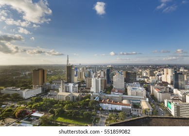 Nairobi, Kenya - December 23: Teleposta Towers and other highrises and streets in the business district of Nairobi, Kenya on December 23, 2015
