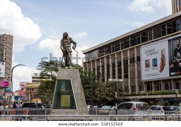 Nairobi, Kenya - December 7, 2016: Dedan Kimathi monument. Dedan led an armed military struggle known as the Mau Mau uprising against the British colonial regime in Kenya in the 1950s.
