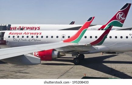 NAIROBI, KENYA - JANUARY 13: Kenya Airways aircraft on January 13, 2014 in Nairobi, Kenya. Kenya Airways in Kenya's national airline with a fleet of 47 aircraft in service.