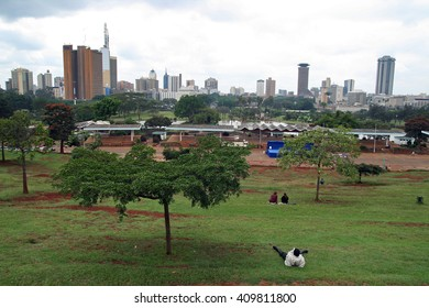 NAIROBI, KENYA - JULY 06, 2009. Public view point of the city of Nairobi, with the cityscape in the background, in a park of the capital of Kenya on July 06, 2009 in Nairobi