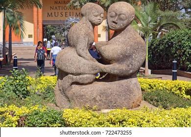 Nairobi, Kenya - July 09, 2017: Sculpture in front of national museum Nairobi, Kenya