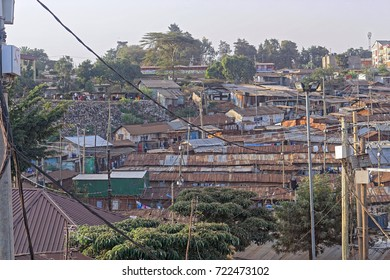 Nairobi, Kenya - July 10, 2017: Kibera biggest slum in Africa Nairobi, Kenya.