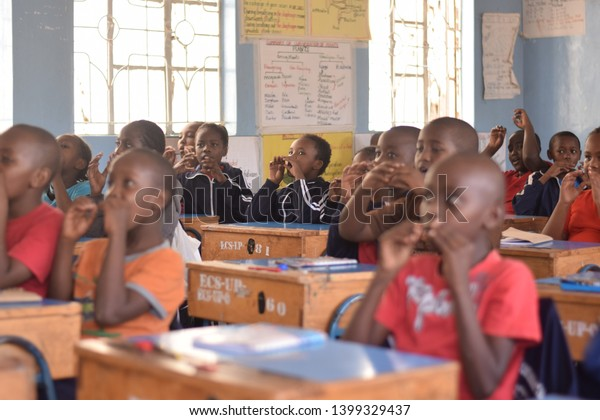 Nairobi, Kenya -July 6th 2017: Children in a primary school classroom in Kenya, Africa.