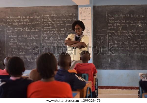 Nairobi, Kenya -July 6th 2017: Children in a primary school classroom in Kenya, Africa.
