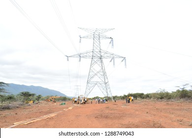 Nairobi, Kenya -June 13th 2017: Electric transmission pylons in rural Kenya, Africa. This lines transmit high power electricity to different regions countrywide.