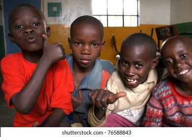 NAIROBI, KENYA - MARCH 2008: Unidentified boys in a Nairobi classroom March 2008 in Nairobi, Kenya.