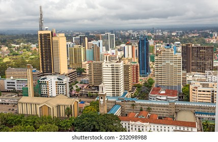 NAIROBI, KENYA - OCTOBER 20, 2014 : Central business district of Nairobi viewed from the roof of Kenyatta International Conference Centre (KICC). Nairobi is the capital city of Kenya.